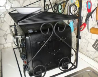 Wrought iron shelf space saver microwave oven for artisan kitchen