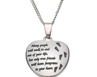 Friendship Pendant Necklace Friendship pendants etsy many people will walk in and out of your life but only true friends will leave audiocablefo