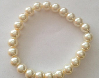Cream Ivory White  Pearls Stretchable Bracelet Wedding Gift School Dance Bracelet Free Shipping In USA