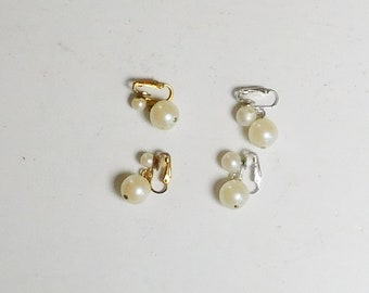 Clip On Non Pierced Dangling Earrings Large Faux Pearls w/ Smaller Pearls Drop Vintage Costume Jewelry