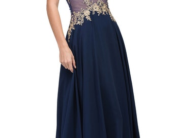 Embroidered Floral Lace Chiffon Skirt Formal Event Gown