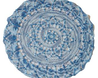 Large variegated blue vintage crochet doily dream catcher doily