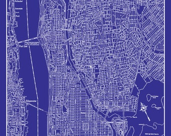 Map of new york city midtown upper manhattan hand drawn new york city map upper manhattan street map vintage blueprint malvernweather Gallery