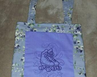 Roller skates reversible  tote bag handmade embroidered book bag  shopping bag reusable grocery bag craft tote