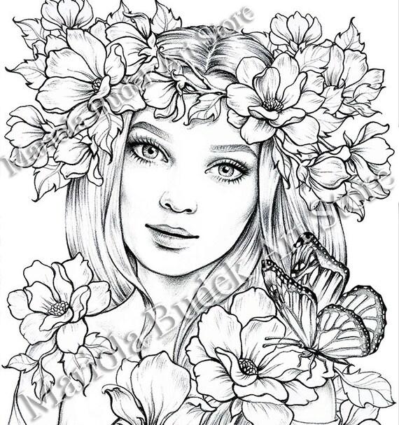 Lady Spring Mariola Budek Premium Coloring Page