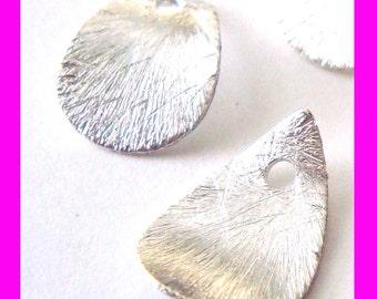 10x sterling silver teardrop Tear Drop Top drill curved petal dangle charm 15mm x 10mm d28