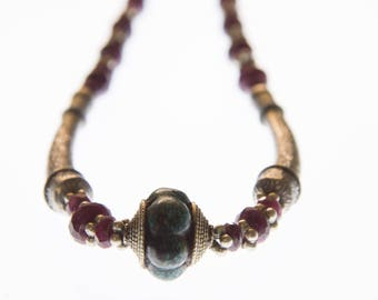 Ruby Necklace - Hilltribe Silver and  Malachite