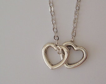 2 Petite Hearts Necklace - Silver, Gift, Personalised Gift Necklace, Valentine's Day Gift