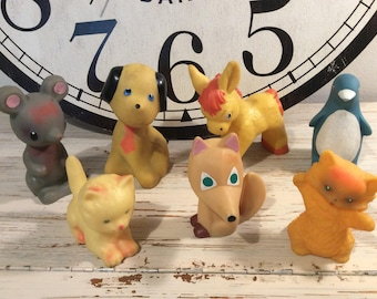Lot of 7 Rare Vintage rubber toys from 60s 7 pcs.