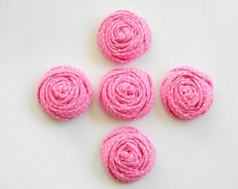 Pink Rolled Rosettes - Pink Polka Dot Rosettes - Pink Rolled Flowers