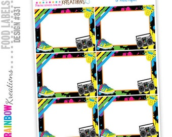 831 - Food Labels: Awesome 80's Hip Hop Candy or Buffet Labels - Instant Downloadable File