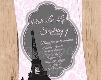 Tween Birthday Invitations, Paris Invitations, Teen Birthday Invites, Eiffel Tower Invitations, Ooh La La, Paris Party, Printable, Digital