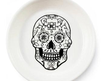 Sugar Skull Handmade Illustrated Ceramic Bowl