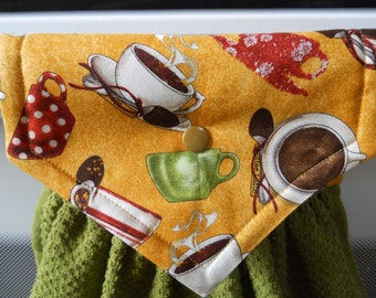 COFFEE, Beautiful, heavy, hanging kitchen towel for the coffee lover in the house. Has top that snaps over an appliance.