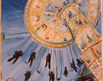 The Yo-Yo - oil impressionist painting carnival ride