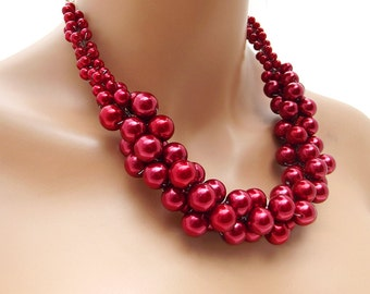 Red Pearl Necklace, Bridal Pearl Necklace, Chunky Wedding Jewelry Set, Red Bridesmaid Jewelry
