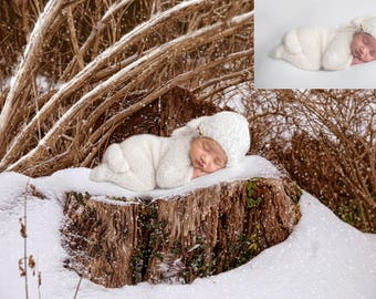 Digital backdrop, background newborn baby girl or boy winter  tree stump snow . Snow is included