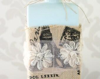 Light Blue Vase, Shabby Chic, Wedding Decor, Burlap & Lace