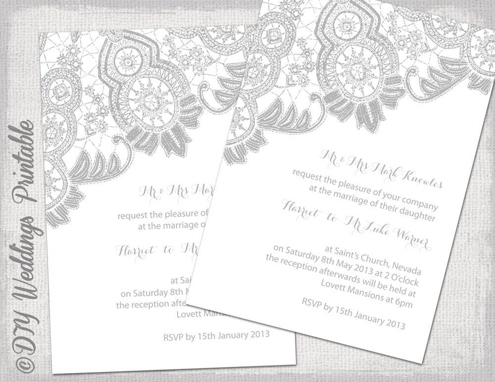 Lace Wedding invitation template Silver Gray on white