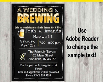 Editable Digital A Wedding is Brewing Couples Shower Invitation INSTANT DOWNLOAD