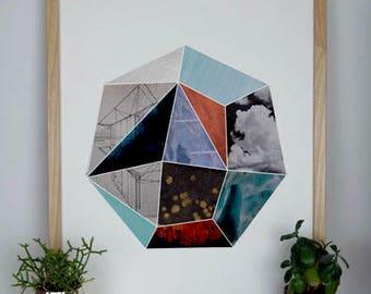 Geometric Collage Print Heptagon II