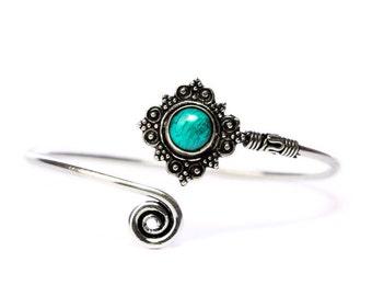 Boho Tribal Bangle Turquoise Gemstone Bracelet Adjustable Gift Boxed + Giftbag + Free UK Delivery WBB15