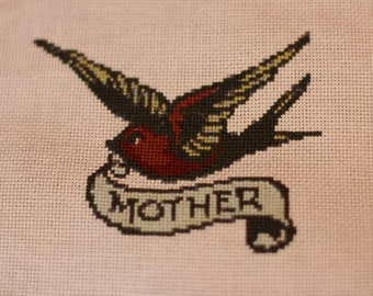 Swallow tail mother cross stitch - free shipping