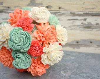 Sola flower bouquet, brides wedding bouquet, coral and mint, aqua, peach wedding flowers, neutral, rustic bouquet, eco flowers, keepsake