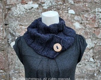 Knitting patterns for women - Charcoal button scarf pattern - Listing118