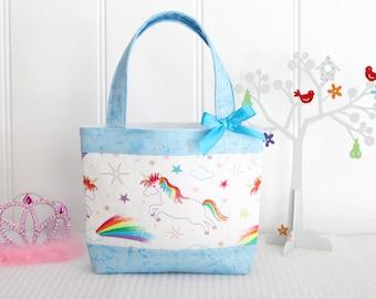 Little Girls Bag - Kids Bag - Girls Bag - Mini Tote Bag - Girls Birthday Gift - Unicorns and Aqua Sparkle