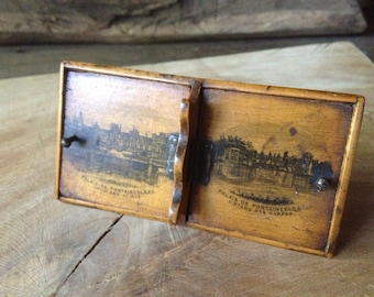 French Salt Pepper Dish Box Souvenir Palais de Fountainebleau ca 1895