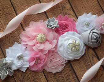 Pink grey and white  Sash , flower Belt, maternity sash, wedding sash, flower girl sash, maternity sash belt