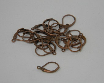 Antique Red Copper Lever Back 20pk, Hoop Earrings, Jewelry Craft Supplies, Jewelry Findings Lead Free and Cadmium Free