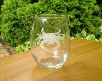 Crab Wine Glasses, pair of 9 oz stemless