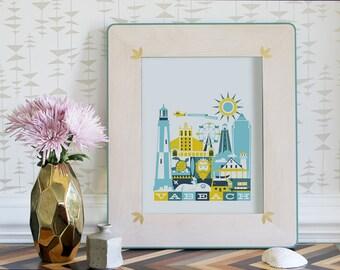 VIRGINIA BEACH print - 11 x 14 in. (color: Mellow)