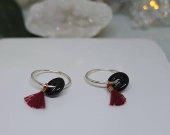 Black onyx earrings - Tassel earrings - Sterling silver hoop earrings - Small hoop earrings - Boho style earrings - Gifts for her