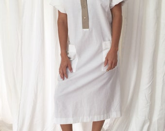 1980s white taupe cotton smock dress / fits to size L