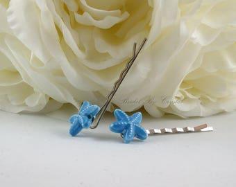 Blue Starfish Hair Pin, Bridal Starfish Hair Pin, Blue Starfish Hair Accessory, Starfish Hair Accessory, Ceramic Blue Starfish Hair Pins
