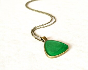 Green triangle necklace / Vintage style pendant / Metallic green resin jewelry / Statement pendant / Cute gift for her / FREE SHIPPING
