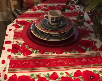Red Poppy Floral Table Runner