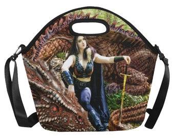 Fantasy art Pet Dragon Lunch box /tote by Ellen Griffin
