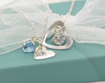 Mother Daughter Birthstone and Heart Necklace Set, Mommy and Me Jewelry, Heart and Birthstone Necklace Set - Sterling Silver