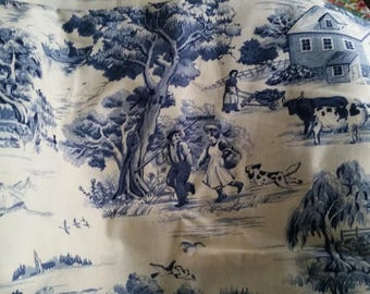 Toile Fabric Colonial Blue Victorian Design Fabric sold by 1/2 yard