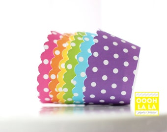 MADE TO ORDER Polka Dot Cupcake Wrappers in bright and vibrant colors- Set of 12