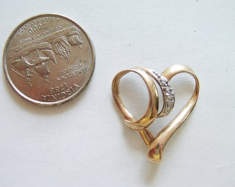 Vintage 10 Kt Heart Necklace / Gold Heart Jewelry / Heart Pendant / Diamond pendant/ 10 Kt Jewelry /  / Gold Heart Jewelry /10 KT