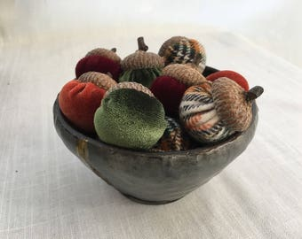 Velvet acorns with Real Acorn Caps, Fall Decor, Table Scatter, Thanksgiving Table Decor, Fall Wedding, Plaid Flannel