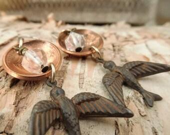 Domed Penny Quartz Crystal Drop Earrings
