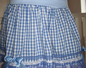 sequoia Blue,White,Pink,red,green,black check Longer Length Skirt,Punk,Rock kawaii,Cosplay lolita All sizes