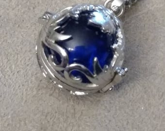 Filigree Egg Locket Necklace, Silver Open Locket, Stainless Chain, Decorative, Many Contents Options