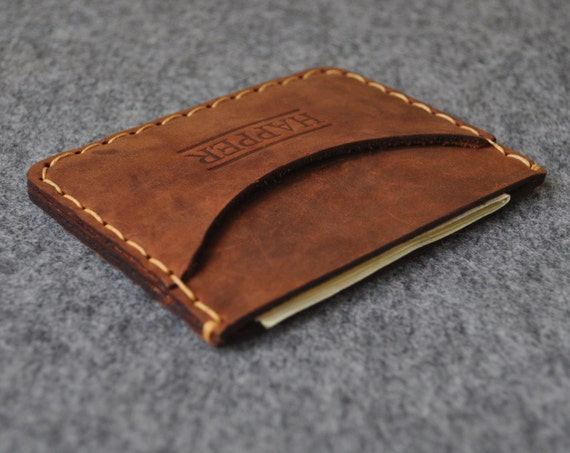 PERSONALIZED Brown Leather Wallet. Credit Card Cash or ID Holder. Rustic Style Unisex Pouch.